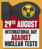 Atomic Bomb with Awareness Message for Day Against Nuclear Tests, Vector Illustration. Atomic bomb and calendar with sign like loose-leaf calendar with reminder royalty free illustration