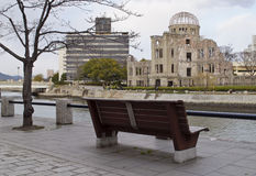 Atomic Bomb Dome in Hiroshima. View on Atomic Bomb Dome over Ota River Stock Photos