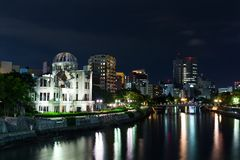 Atomic bomb dome in Hiroshima Japan. Beautiful sightseeing scenery landscape Royalty Free Stock Images