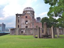 Atomic Bomb Dome in Hiroshima, Japan. Hiroshima Peace Memorial, commonly called the Atomic Bomb Dome (Genbaku Dome). This dome was the only structure left Stock Photos