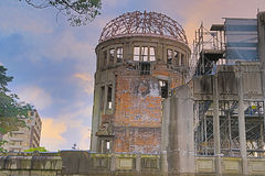 The atomic bomb dome in Hiroshima Japan. View on the atomic bomb dome in Hiroshima Japan Royalty Free Stock Images