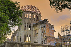 The atomic bomb dome in Hiroshima Japan. View on the atomic bomb dome in Hiroshima Japan Royalty Free Stock Photography