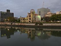 Atomic Bomb Dome, Motoyasugawa River, Hiroshima, Japan. The Atomic Bomb Dome is the skeletal ruins of the former Hiroshima Prefectural Industrial Promotion Hall Stock Photo