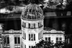 The Atomic Bomb Dome at night in black and white in Japan. royalty free stock photo
