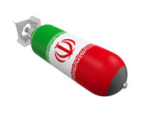 Atomic Bomb with Iranian Flag. Isolated on white background. 3D render vector illustration