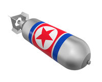 Atomic Bomb with North Korea Flag Royalty Free Stock Images
