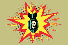 The atomic bomb and skeleton. Comic book illustration pop art retro color vector Royalty Free Stock Photo
