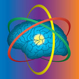 Atomic brain. Science and intellect concept stock illustration
