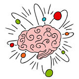 Atomic Brain Power. An image of a human brain with atomic powers vector illustration