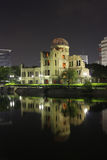 Atomic Dome. Hiroshima, Japan. Atomic dome, half-broken house 150m from hypocenter of explosion. Night shot Stock Photos