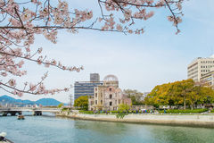 Atomic dome in Hiroshima on a sunny day, Hiroshima Japan. Atomic dome a historical architecture in Hiroshima on a sunny day in spring, Hiroshima Japan Royalty Free Stock Images