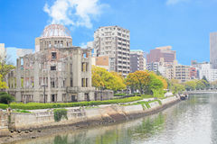 Atomic Dome and the river view at Hiroshima. Memorial peace park, Japan Stock Photography