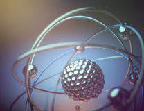 Atomic Energy Power. 3D illustration. Concept image of a nuclear atomic model with nuclear fusion stock illustration
