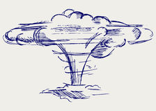 Atomic explosion. Doodle style Royalty Free Stock Photo