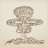 Atomic explosion drawing Royalty Free Stock Photography