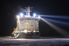 Atomic icebreaker Vaigach. In river Enisey, Russian Federation stock photo