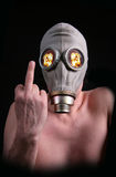 Atomic man. Photo of man with gas mask (atomic man Royalty Free Stock Image