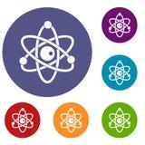 Atomic model icons set Stock Images