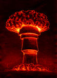Atomic mushroom cloud. Mushroom shaped atomic cloud in flaming red tones. Pencil drawing, sketch Royalty Free Stock Photo
