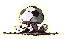 Atomic mushroom in form of soccer ball stock image
