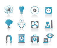 Atomic and Nuclear Energy Icons Stock Photo