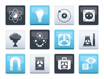 Atomic and Nuclear Energy Icons over color background. Vector icon set vector illustration
