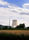 Atomic nuclear power station meadow grass blue sky Stock Photo