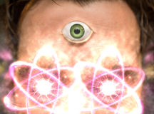 Atomic Particle Third Eye. Man with third eye and atomic particles for science and fantasy background stock images