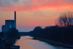 Atomic plant by night Royalty Free Stock Photos