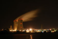 Atomic power plant. At night Royalty Free Stock Photos