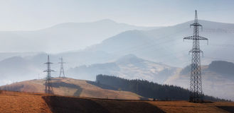 Atomic power. Power station in autumn near the town with pipes Stock Photos