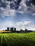 Atomic power station and field Stock Images