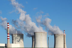 atomic power station with four coolin towers Stock Photos