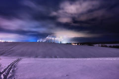 Atomic power. Power station in winter near the town with pipes Stock Photography