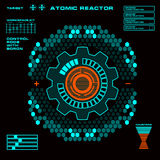 Atomic reactor Futuristic virtual graphic touch user interface. Display, dashboard, screws, illuminated, user, power, interface, sensors, , elements, measurement Royalty Free Stock Images