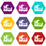 Atomic reactor icons set 9 vector. Atomic reactor icons 9 set coloful isolated on white for web Royalty Free Stock Photo
