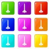 Atomic rocket icons 9 set Stock Photo