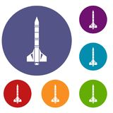 Atomic rocket icons set Royalty Free Stock Photo