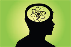 Atomic. Sign in man's head. concept on green Royalty Free Stock Image