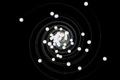 Atomic spiral background. 3D illustration. Scientific abstract background Stock Photos
