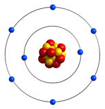 Atomic structure of oxygen. 3d render of atomic structure of oxygen vector illustration