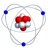 Atomic structure with proton, neutron and electron isolated on w. 3d model of the nucleus of an atom with protons and neutrons surrounded by orbiting electrons Stock Image