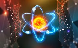 Atomic structure. Scientific breakthrough. Modern scientific research on nuclear fusion. Innovations in physics stock illustration