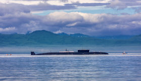 Atomic submarine On the parade. In Kamchatka stock images