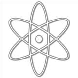 Atomic Symbol. A white illustration of a simple atom symbol Stock Photo