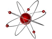 Atomic symbol. 3D illustration of an atomic symbol in red and silver, isolated on a white background royalty free illustration