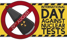 Atomic Warhead and Sign for International Day Against Nuclear Tests, Vector Illustration Vector Illustration
