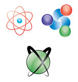 Atomic web icons. Vector illustration of three icons of atomic representation Stock Photography