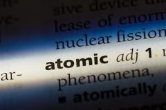 Atomic. Word in a dictionary.  concept Stock Image