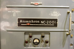 Atomichron Atomic Clock. Front control panel on antique atomichron atomic clock Royalty Free Stock Photography